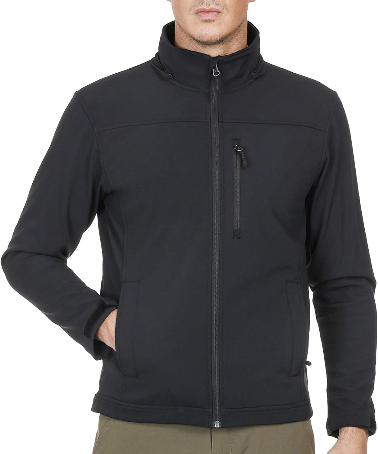 MIER Men's Tactical Softshell Jacket Fleece Lined Water Resistant Outerwear, Black
