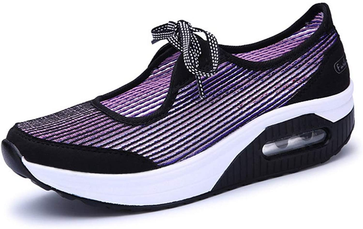 T-JULY Women Air Mesh Lace-up Platform Wedges Casual shoes Ladies Spring Summer High Heel Sneakers