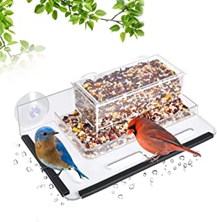 HHXRISE Acrylic Bird Feeder with Strong Suction Cups & Seed Tray,Window Outdoor Birdfeeders with Special Designed Flower Pot Base and Large Standing Perch