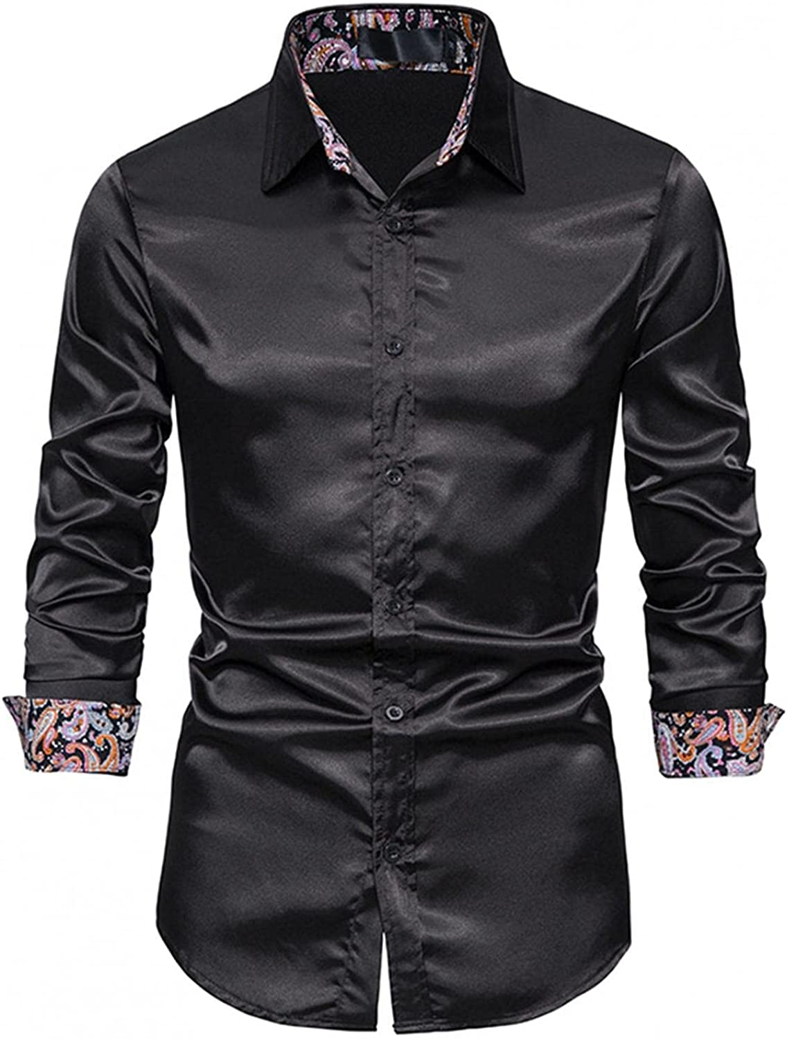 FUNEY Men's Inner Contrast Casual Formal Dress Shirts Long Sleeve Patchwork Plaid Printed Collar Slim Fit Button Down Shirt