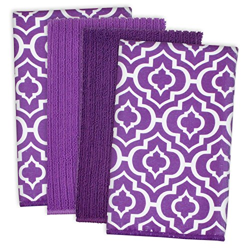 """DII Microfiber Multi-Purpose Cleaning Towels Perfect for Kitchens, Dishes, Car, Dusting, Drying Rags, 16 x 19"""", Set of 4 - Eggplant Lattice"""