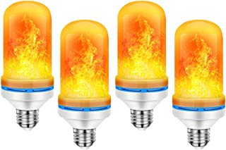 CINOTON LED Flame Effect Light Bulb, Flicker Light Bulb 4 Modes E26 Bulb Base, LED Fire Lamp with Upside Down Effect Simulated Atmosphere Christmas Lights Party Decorations (4pack)