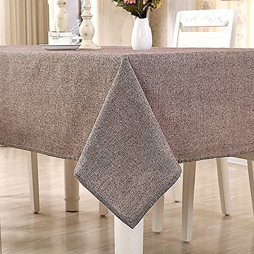 Yuanyou Mantel de algodón, simple mantel liso, mantel de mesa de té, mantel rectangular para el hogar, marrón, 140X200CM