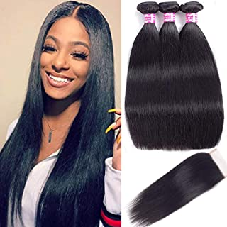 Straight Human Hair Bundles with Closure (12 14 16+12free part) 100% Virgin Human Hair Bundles with Closure Unprocessed Brazilian 100% Human Hair Extensions with Free Part Lace Closure Natural Color