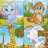 SIPLIV Puzzle en Bois 9 pièces pour Les Enfants de 2 à 5 Ans, Ensemble de 4, Animaux forestiers B