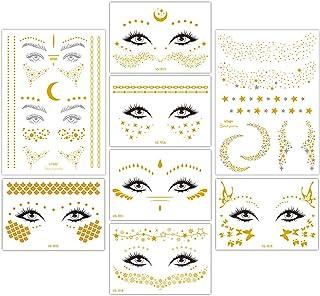 8 ورق هالووین صورت موقت خالکوبی برچسب فال گوی صورت طلایی زرق و برق دار تاتو برای آرایش حرفه ای لباس رقصنده