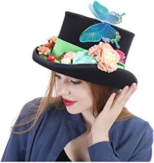 HaiNing Zheng Steampunk hat VINTAGE Wool feathered green Top Hat with goggles