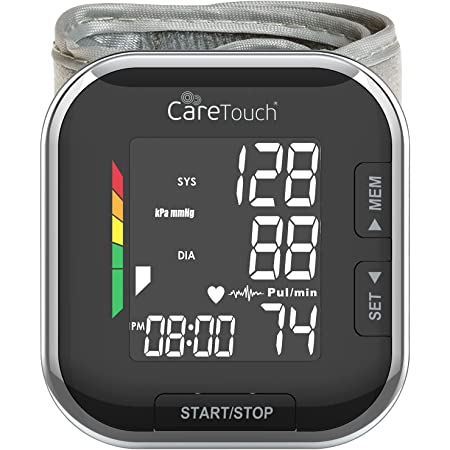 Care Touch Platinum Black Wrist Blood Pressure Monitor, Automatic BP Monitor, Adjustable Cuff, and Irregular Heartbeat Indicator - Blood Pressure Cuffs for Home and Hospital Use