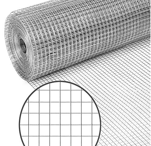 Garden Tailor 48 x 50 ft Hardware Cloth for Chicken Coop Wire Fencing, 1/2 inch Square Mesh, 19 Gauge Galvanized Welded Fence Roll, Garden/Plants Support Project, Poultry Netting Cage (Silver)