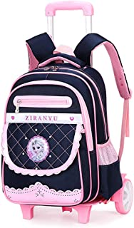 Girls School Bag Nylon Waterproof Wearable Trolley Backpack Elementary School Detachable Staircase Bag