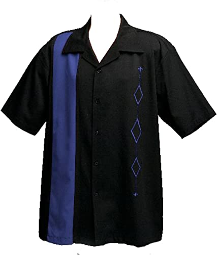 Mens Retro Bowling Shirt, Big Tall, Royal Blue on Black