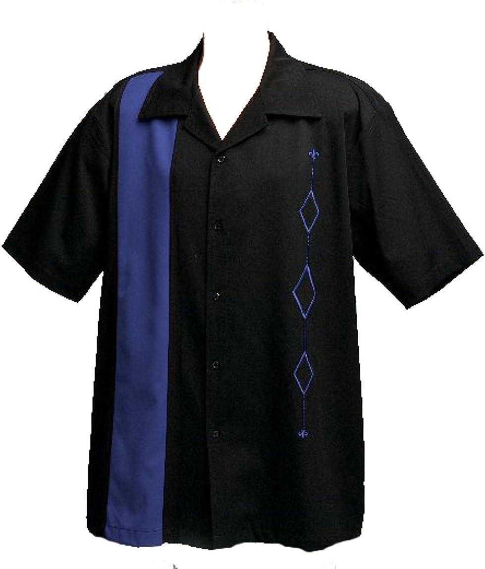 Mens Retro Bowling shopping Shirt Big Japan Maker New Royal Blue Tall on Black