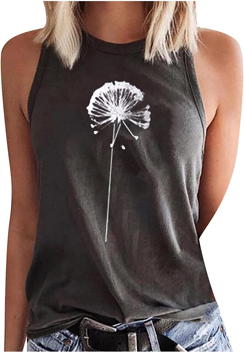 Cute Tank Top for Womens Summer Sun and Moon Print Graphics Tee Top Loose Fit O-Neck Sleeveless Vest T Shirt Tunic