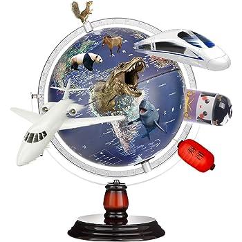 地球儀 子供 日本語 球径25cm 3Dで学べる LEDライト付き 360°回転可能 地勢タイプ 3WAY 知育玩具 ベッドサイドランプ 真珠フィルム 雰囲気が良い 防水性 新入学のお祝いに プレゼント (210-Blue)