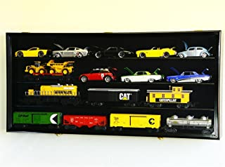 O Scale Train Display Case Cabinet Wall Rack w/ UV Protection- Lockable -Black