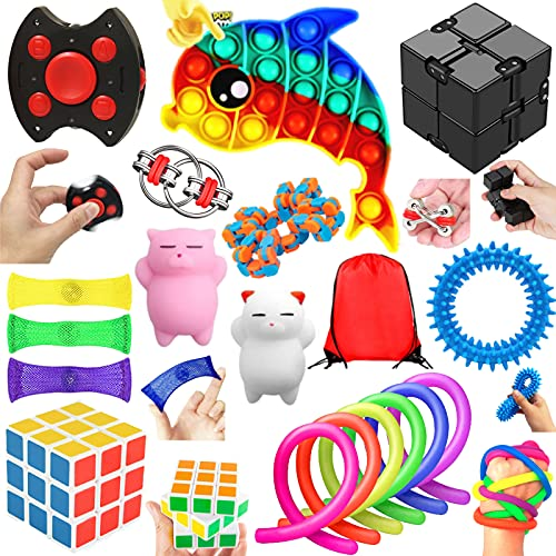 Paochocky Sensory Fidget Toys Set, Sensory Toys for Autism ADHD, Stress Reliever with Storage Bag, Infinite Cube, Bubble Sensory Toy Anti-anxiety Birthday for Teen Children Adult