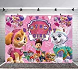 Paw Patrol Girl Birthday Party Banner Backdrop Background Baby Shower Princess Kids Girls Cake Table Decoration Banner Photo Studio Props 7x5ft
