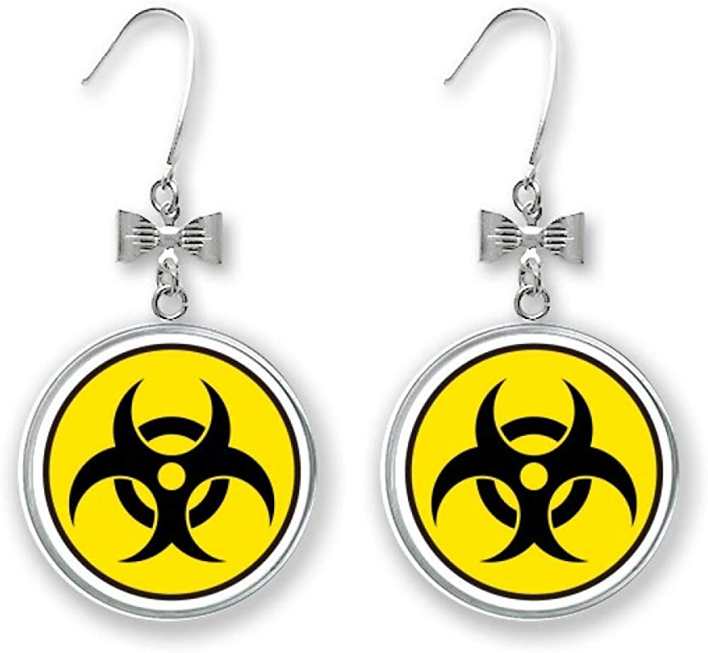 Danger Chemical Toxic Radiation Discount is also underway Symbol Bow Earrings Stud Drop Pi Manufacturer direct delivery