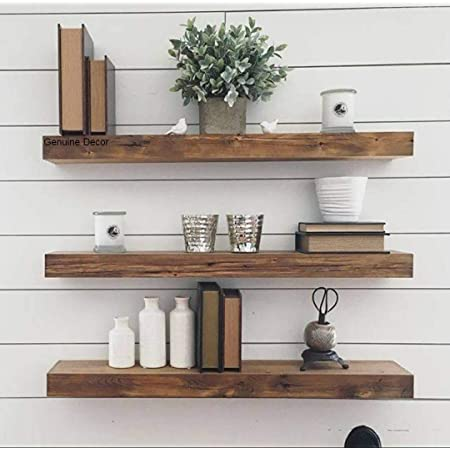 Genuine Decor 18 Inch Floating Shelves for Wall Set of 3, Rustic Wall Mounted Ledge Shelf for Bathroom, Bedroom, Living Room
