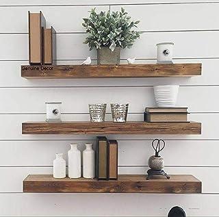 Genuine Decor Wood Wall Shelves ,Natural Teak Finish ,Set Of 3,Brown