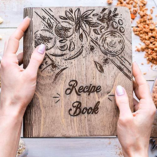 Wooden Blank Recipe Book Binder - Personalized Recipe Notebook - Family Cookbook Journal Custom...