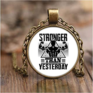 CARONECK Cool Weightlifting Necklaces, Stronger Than Yesterday Necklace Antique Brass