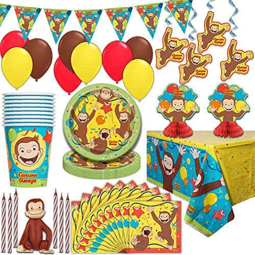Curious George Party Supplies, Serves 16 - Plates, Napkins, Tablecloths, Cups, Balloons, Hanging Decorations, Centerpieces, Flag Banner, Candles, Cake Topper - Full Tableware set for birthday parties