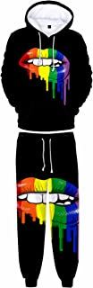 Honeystore LGBT Lesbian Gay Pride Hoodie Pant Rainbow Print Joggers 3D Tracksuit