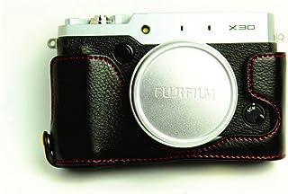 Zakao - Funda de piel auténtica para cámara Fujifilm Fuji X Series X30 (apertura media inferior con correa de mano)