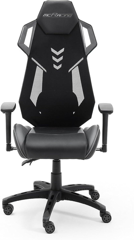 MC Racing B2, Gamingstuhl, Bürostuhl, Schreibtischstuhl, schwarz grau,(B H T)  circa 69 x 129 x 64 cm