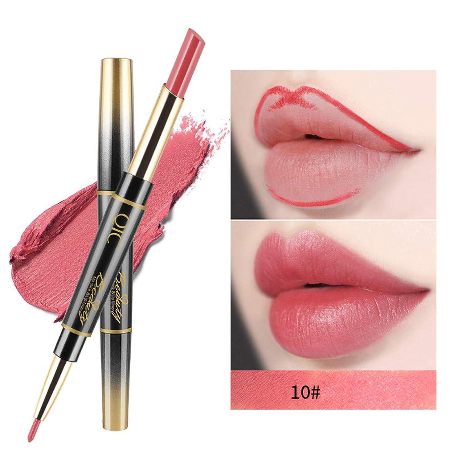 リップスティック ペンシル 14色 ダブルエンド リップクリーム ラスティング リップバーム リップライナー 防水 口紅 リップライナー 唇に塗っっていつもよりセクシー魅力を与えるルージュhuajuan