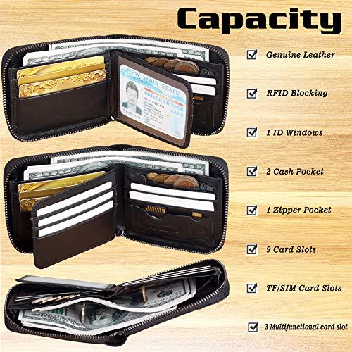 Mens RFID Blocking Wallets Zipper Leather Wallet for Men Bifold RFID Card Holder 6
