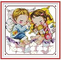 刻印されたファブリックを備えたクロスステッチキット11Ctのプリントパターンを備えた初心者の子供と大人のための刺繍キット-かわいい睡眠位置16X20インチ