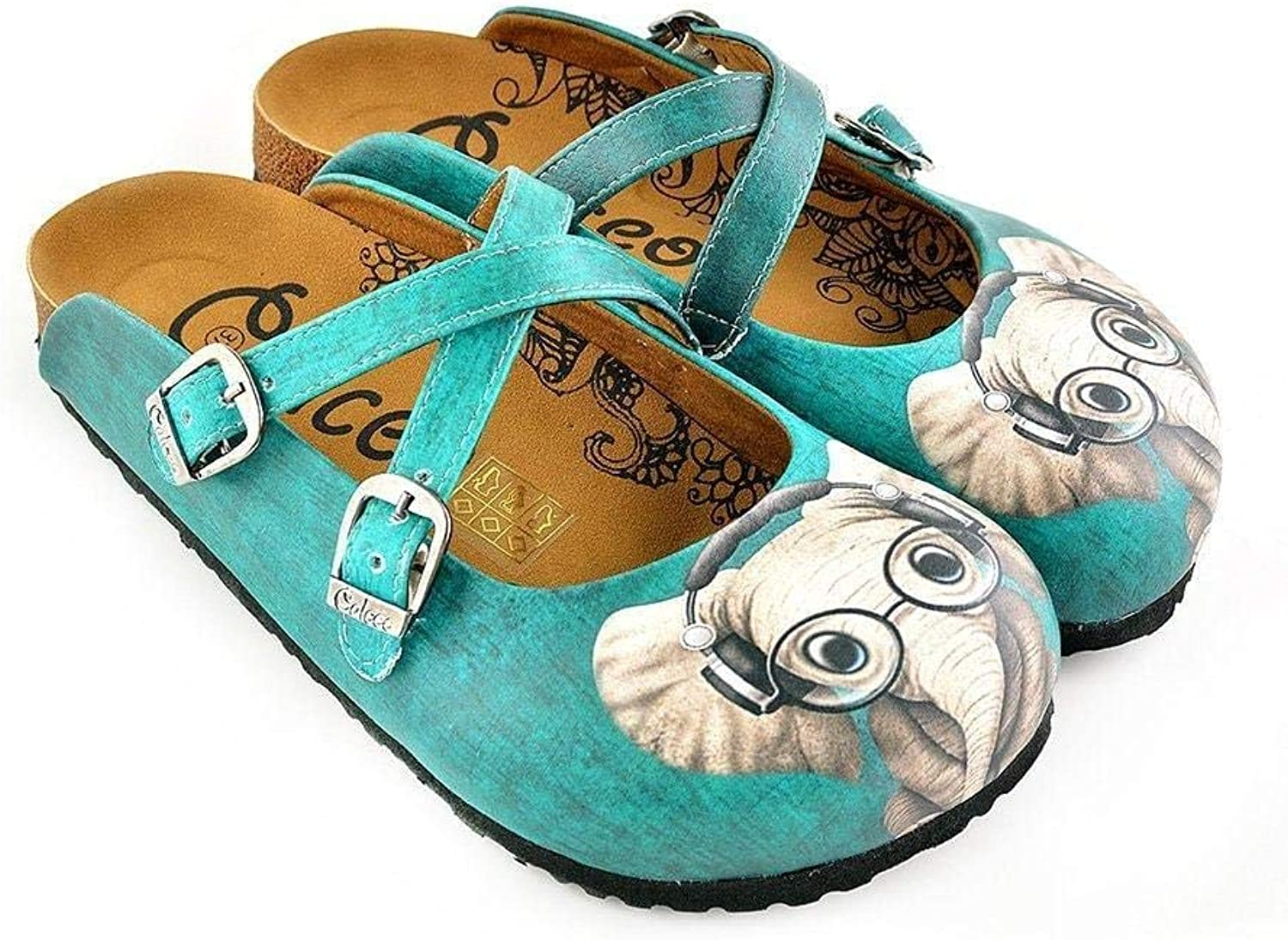 GOBY Women's shoes ''Teal Elephant Clogs'' Sandals 'WCAL140'