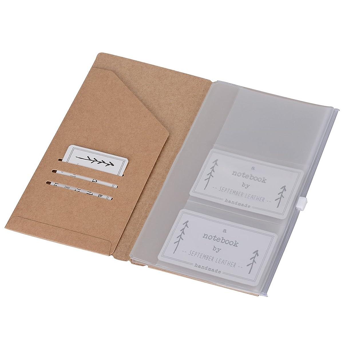 Kraft File Folder + Zipper Pouch & Card Sleeve Travel Accessories Pack - Refills for Standard Size Travelers Notebook