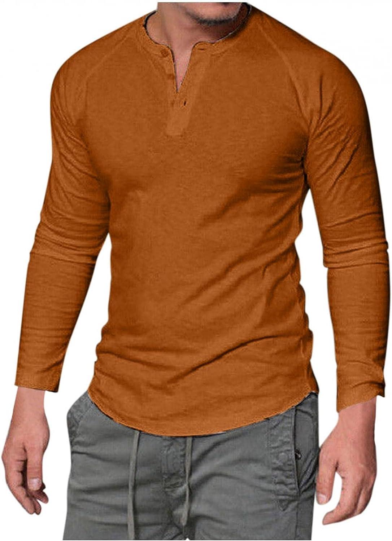 Burband Mens Regular Fit Long Sleeve Henley Shirts Athletic Workout Active Jerseys Sweatshirts Big and Tall Baseball Tees
