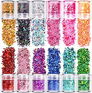12 Colors Holographic Laser Chunky Glitter Foil Mix Nail Art Flakes Sequins, 10g Each Color Beauties Factory Stars and Hex...
