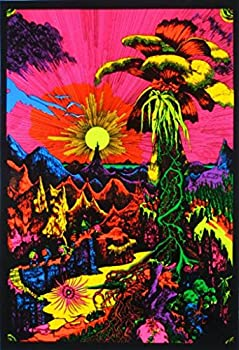 Lost Horizon Flocked UV Black Light Blacklight Poster Tropical Mountain Valley Landscape Fantasy 23x35 inch
