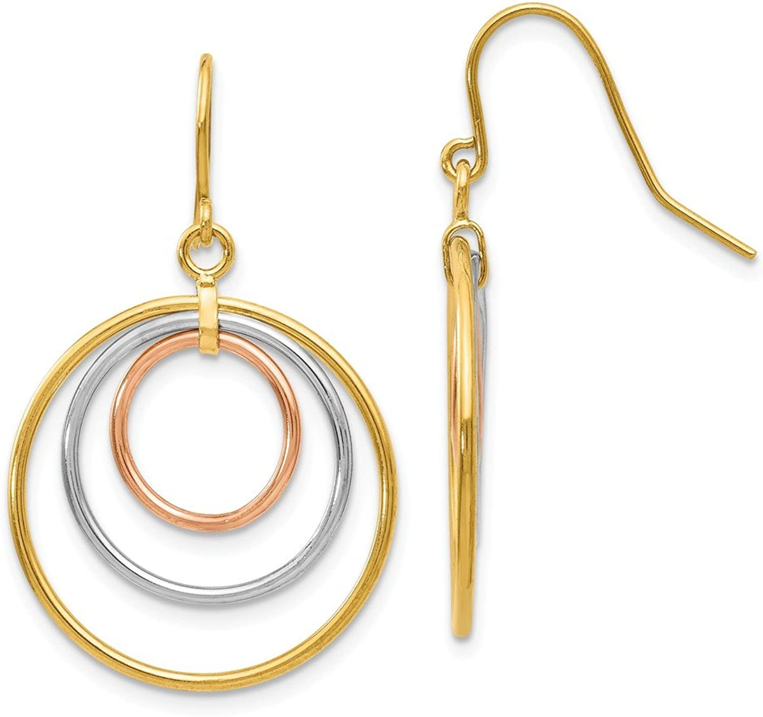 Beautiful Tri color gold 14K 14k Tricolor Circle Dangle Earrings