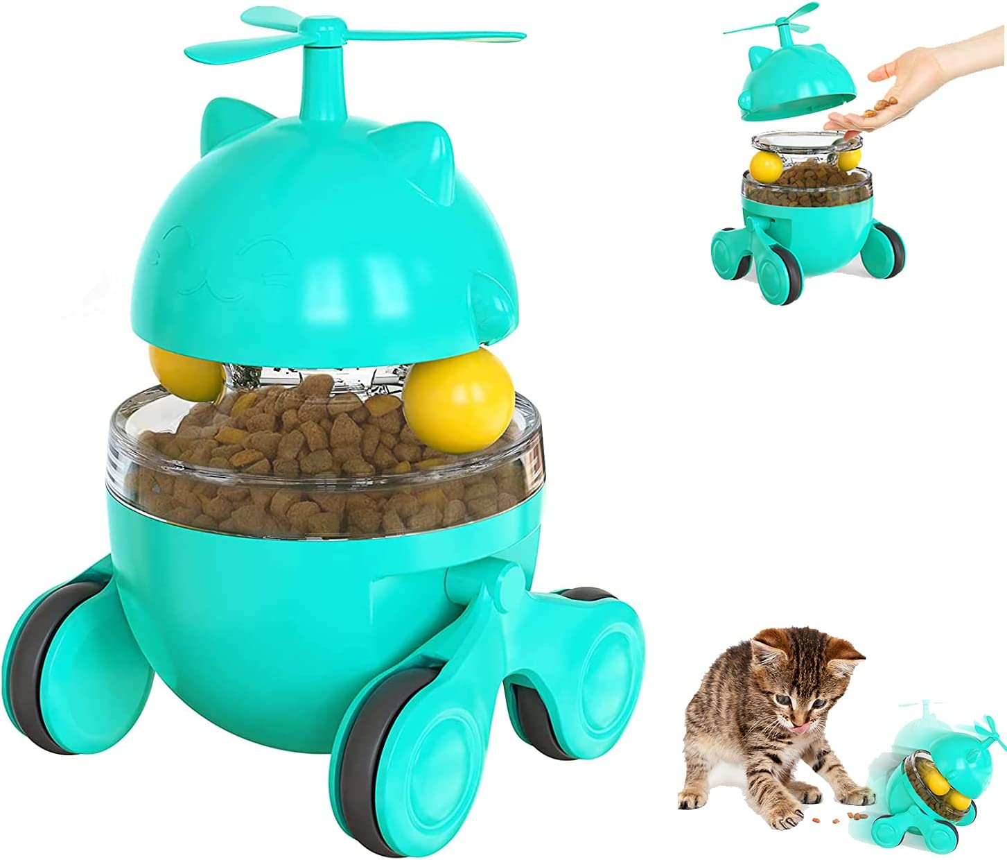 Cat Food Dispenser Treat Toys, Kitten Feeder Toys, Funny Tumbler Style, Cat Toys for Indoor, IQ Traning Interactive Treat Toy with Dual Rolling Balls and Propeller, for Cat Self-Play (Blue)