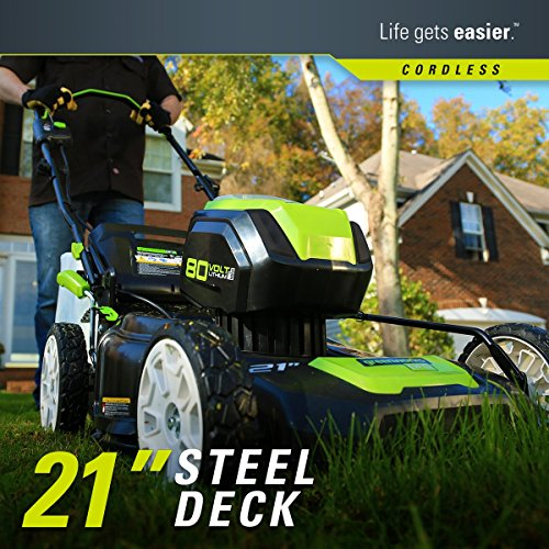 Greenworks 2502202 Pro 21-Inch 80V Push Cordless Lawn Mower, Battery and Charger Not Included