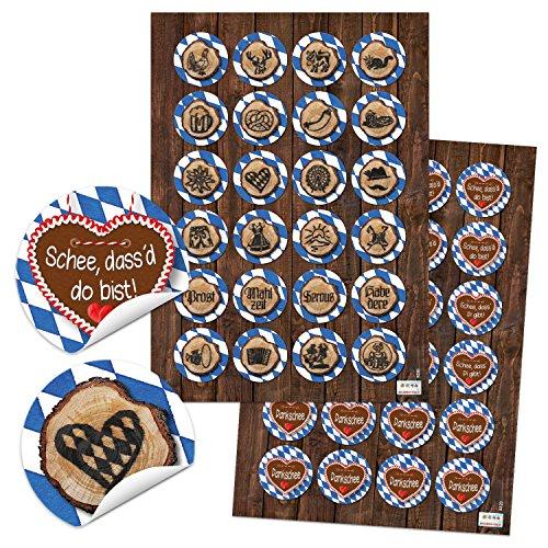 2 x 24 Bayernaufkleber bayerische Aufkleber SCHÖN DASS DU DA BIST Dirndl Lederhose Breze blau weiß kariert Verpackung Geschenke Sticker Bayern Oktoberfest Bierfest Souvenirs