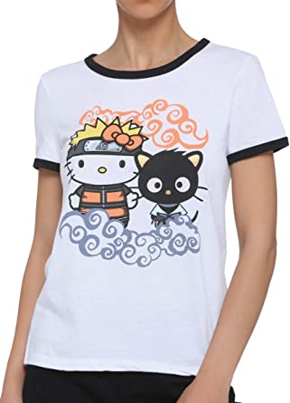 Naruto Shippuden X Hello Kitty and Friends Clouds Girls Ringer T-Shirt