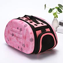 """YSDHE Pet Bag,Take-Out Portable Folding Cat and Dog Universal Bag,Stylish Breathable Dog Out Bag, Small Size 14.2""""× 8.7"""" × 7.9"""" (Color : Pink)"""