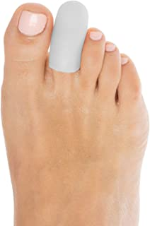 ZenToes 6 Pack Gel Toe Cap and Protector - Cushions and Protects to Provide Relief from Missing or Ingrown Toenails, Corns, Blisters, Hammer Toes (Small, White)