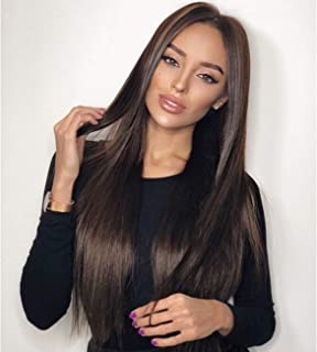Vedar Celebrity Wigs Luxury Brown Lace Front Wigs for Women Silky Straight Wigs Long Hair Natural Looking Synthetic Lace Wigs Middle Part Flawless Hair Chocolate Hair Wigs Best Lace Front Wigs 22 inch