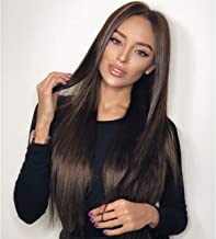 Vedar Celebrity Wigs Luxury Brown Lace Front Wigs for Women Silky Straight Wigs Long Hair Natural Looking Synthetic Lace Wigs Middle Part Flawless Hair Chocolate Hair Wigs Best Lace Front Wigs 60cm