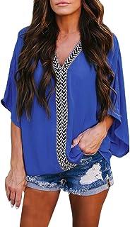 OULSEN Women Blouse Fashion Loose Casual Tunic Tops Shirt Splice V Neck Bat Sleeve Chiffon Blouse Shirts For Women