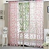 Amazingdeal365 Schal Vorhang Flugfensterdeko Voile Gardinen Schal 2m *1 m