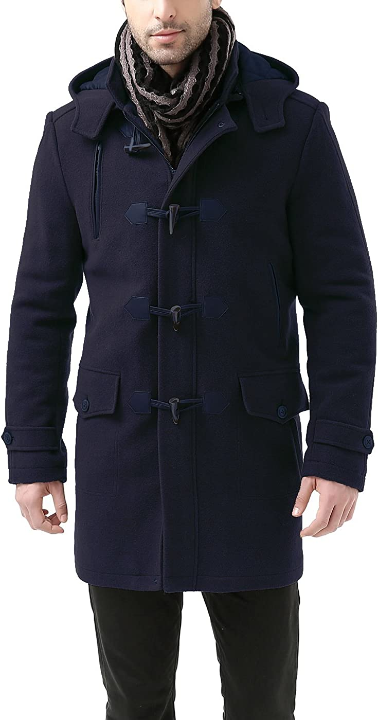 BGSD Men's Tyson Wool Blend Leather Trimmed Toggle Coat (Regular and Big & Tall)